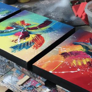 tableau triptyque multicolor