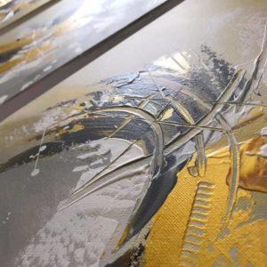tableau triptyque jaune doré et gris